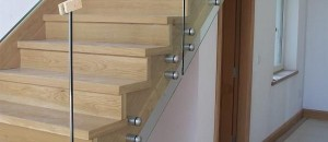Concrete stairs with glass balustrade