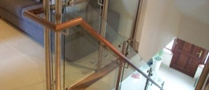 Glass balustrade to timber stairs