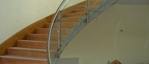 Stainless steel & curved glass balustrade
