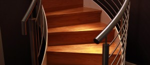 Red oak curved stairs