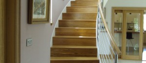 Winding staircase with stainless steel balustrade