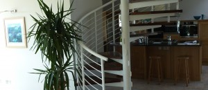 spiral staircase finished with a mild steel balustrade