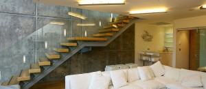 Equilibrium open stairs with off-set support