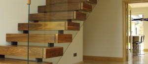 walnut finish open stairs