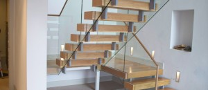 open staircase with off-set supports