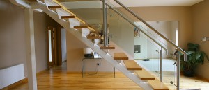 Modern Staircase with central spine fin-plate support